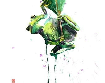 Tree Frog Rainforest Watercolor Painting Fine Art Giclee Print / Tropical wildlife painting / Jungle animal painting