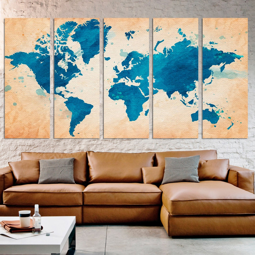 Extra Large Wall Art Watercolor Map World Photo Framed Canvas