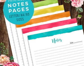 Colorful Notes Planner Pages Printable   Notebook Pages, Meeting Notes template, to do list printable, shop, A4, A5, letter INSTANT DOWNLOAD