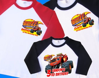 Blaze Birthday Shirts. Set of 3 Family Birthday Raglans. 1 Toddler and 2 Adult Sizes (up to XL)  1st 2nd 3rd 4th 5th 6th 7th 8th 9th (35107)