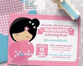 Kokeshi Doll Birthday Party invitations DIY Japanese Doll printable Girls birthday invite