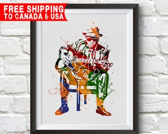 Blues man Print,Blues man Poster, Blues man Art, Home Decor, Gift Idea, Free shipping to canada & usa