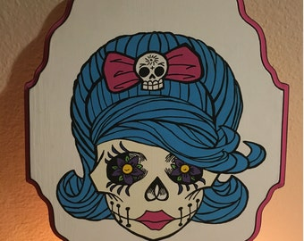 Day of the Dead Beehive Skull Painting