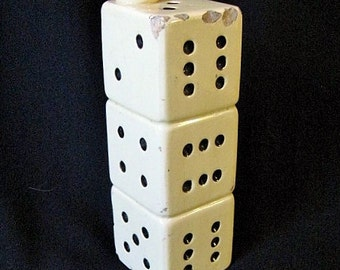 Vintage Yellowware Pottery Stacked Dice Vase
