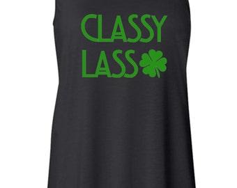 "St. Patrick's Day ""Classy Lass"" Tank. Sassy Lass Tank. St. Paddy's Day Tank. St. Patty's Day Tank. Funny St. Patty's Day. Funny St. Paddy's"
