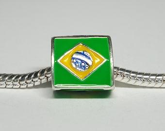 Silver Brazilian Flag Charm for European Bracelets (item 121)