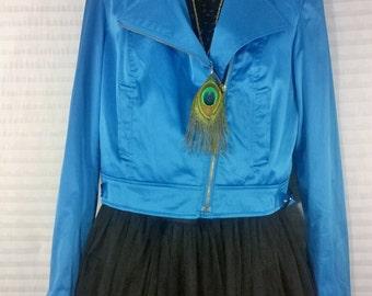 Bright Blue Satin Jacket by Sele