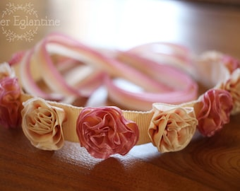 Wedding pink and ivory headband