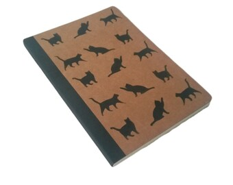 Black Cat Parade Hand Printed A5 Brown Kraft Lined Notebook Journal
