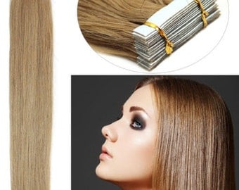 Remy Seamless Tape Human Hair Extensions 18'' Length 40pcs  (#P4/613- Medium Brown/ Lightest Blonde)