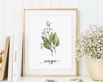 Sage Printable, Kitchen Art, Herb Printable, Kitchen Printable, Herb Wall Art, 5x7 and 8x10 Printable, Instant Download