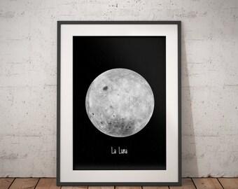 Moon Poster, La Luna, Moon Print, Moon Printable, La Luna Poster, Full Moon Poster, Moon Digital Print, Full Moon