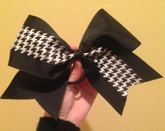 Black Houndstooth Cheer Bow