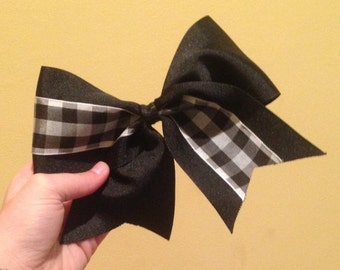 Black Gingham Cheer Bow