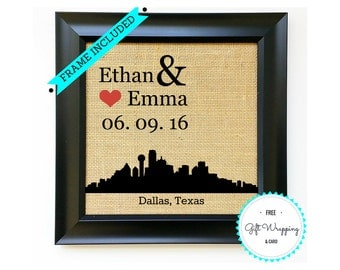 DALLAS - Personalized TEXAS Burlap Print Wedding Gift Ideas Engagement Gift for Couples Bridal Shower Gifts Presents Black Frame Included