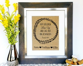 Personalized Mother's Day Gift Children's Name Sign Burlap Print with Childrens Names Mothers Day Present Ideas Art Unique Gift Idea for Mom