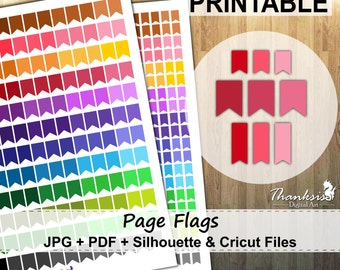 50% SALE, Page Flags Printable Planner Stickers, Erin Condren Planner Stickers, Page Flags Printable Stickers, Page Flags - Cut Files