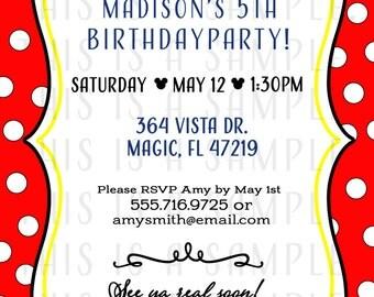 Girl Mouse Birthday Invitations DIGITAL FILE