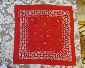 "Rockabilly RED BANDANA Handkerchief RN 14193 Made in U S A 21"" square H112"