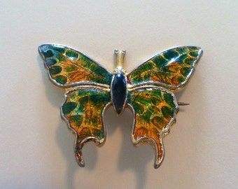 Vintage 1970's Costume Colorful Butterly Brooch