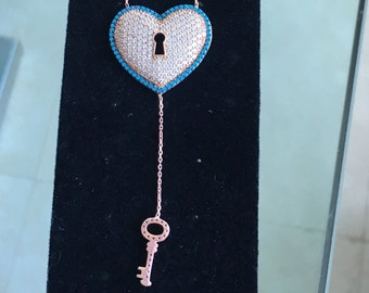 Micro pave Love Necklace with key.