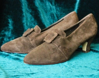 Vintage Women's Shoes Saxone Brown Vintage Leather Shoes Medium Heel Shoes Size 4 Women's Pumps