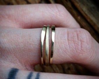 Stacking Bands Brass Stacking Rings SET OF 3 Simple Ring Set Simple Layer Rings Simple Boho Rings Stack Bands Stack Rings Hammered Brass