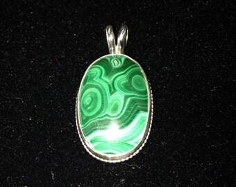 Unique Malachite Sterling Silver Pendant