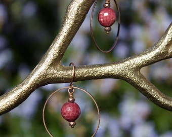 Red, Faceted Glass Spheres on Copper Hoops