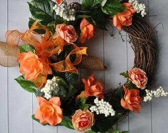 Fall Wreath, Everyday Wreath, Summer Wreath, Wedding Wreath, Cottage Wreath, Funeral Wreath, Rose Wreath, Peach Wreath, Everyday Wreath