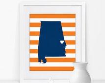 Auburn Alabama State Map Art Print Alabama Sign Alabama State Grad Gift Map of Alabama Map Print Alabama Art Alabama Print
