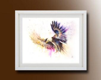 Flying eagle, Original Watercolor Painting, Flying eagle Painting, Boba painting