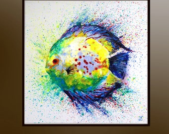 Fish Discus, Original Acrylic painting, Fish art, Tropical fish