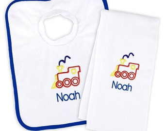 Personalized/Monogrammed Baby Boy Bib and Burp Cloth Set with Train