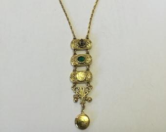 Long Gold Vintage Locket Necklace, Gold Locket, Antique Locket, Locket Jewelry, Intricate Gold Locket