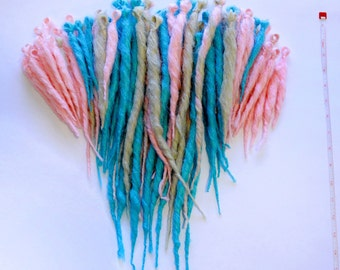Ready to Ship Full Set, 80 Dreadlocks, Blue, Pink, Blonde, 6-18 inches, Cotton Candy Style