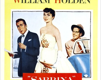 Sabrina Movie Poster 1954 Hepburn & Bogart Romantic Comedy 24x36 Oscar Award
