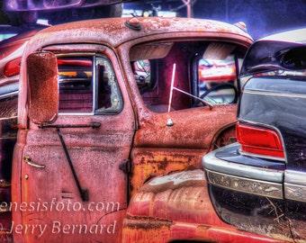 Vintage Truck in Scrap yard, HDR
