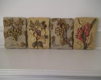 Fruit Textured in Relief Ceramic Tiles - Set of 4