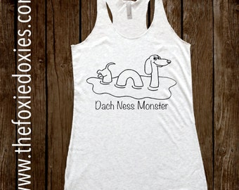 DACH NESS MONSTER Heather White Tank Top, Dachshund, Doxie, Doxies, Weiner Dog,LochNess Monster,Loch Ness,Dachness, Wiener Dog, Sausage Dog