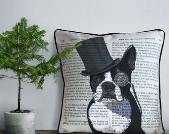 Boston Terrier pillow cover Boston Terrier cushion cover  Formal Hat & Hound throw pillow Boston Terrier gift dog lover Boston Terrier lover
