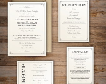 The Lauren — Traditional Wedding Invitation Suite with Elegant Art Deco Border —  Customize your wedding with DIY, Print at home Invite Set!