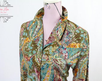 Vintage Long Sleeved Fitted Paisley Shirt Size S/M