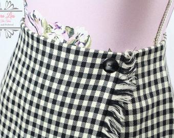 Vintage Black White Tartan Check Skirt with Fringe Size S