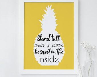 Pineapple wall art, Pineapple Art, Tropical Print, Be a pineapple Quote, Tropical Wall Art Decor, Fruit Print, Typography Print, Modern art