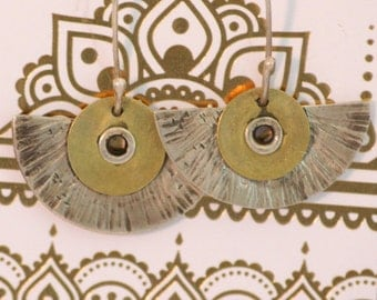 Earrings sterling silver and brass with sterling silver ear wire