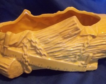 Wonderful Vintage Yellow Pottery Plant, Log,Ax,Saw, Maker Unknown