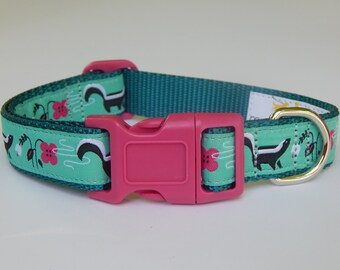 Teal Blue Skunk Dog Collar, Pink Flower Dog Collar, Skunk Dog Collar, Adjustable Dog Collar