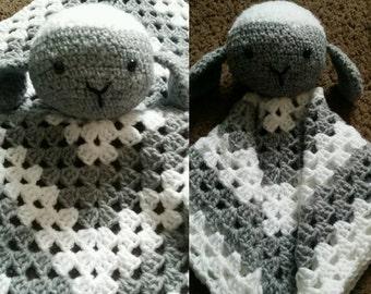 Lamb baby snuggle rattle blanket