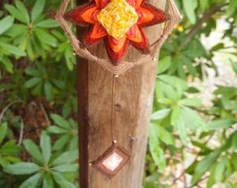 "Autum"" Hand woven Mandala mobile - God's eye"